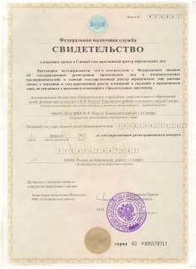 Свидетельство ЕГРЮЛ.
